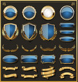 collection of elegant blue and golden badges and vector image