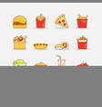colorful fast food icons vector image