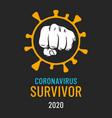 coronavirus slogan covid19 virus stop fist sign vector image vector image