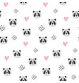 cute cartoon pattern with panda heads and hearts vector image vector image