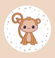 cute monkey animal in frame circular vector image vector image
