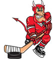 devil sports hockey logo mascot vector image vector image