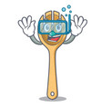 diving wooden fork character cartoon vector image