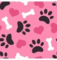 Dog paw trace silhouette with bones and pink heart vector image vector image
