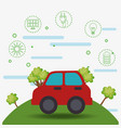 ecology car vehicle icons vector image vector image