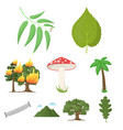 forest set icons in cartoon style big collection vector image