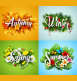 four seasons typographic banner vector image