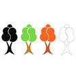 four trees set vector image