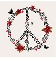 Freehand Peace Love Paris with vector image vector image