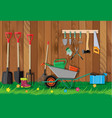 gardening tools set equipment for garden vector image vector image