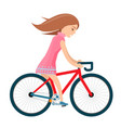 girl in summer clothes rides bike isolated on vector image vector image