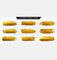 golden paint brush stroke set gold paint smear vector image