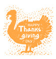 happy thanksgiving day with turkey bird vector image vector image