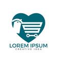heart shaped shopping cart logo design vector image
