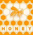 honey bee sticker silhouette on honeycomb vector image vector image