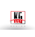 kg k g logo letters with red and black colors and vector image vector image