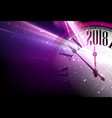 lilac 2018 new year clock background vector image vector image