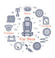 linear round banner of car seat in center vector image