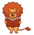 lion with big mane in glasses reads book vector image vector image