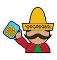 man with sombrero holding beer mexico culture icon vector image vector image