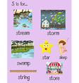 Many words begin with letter S vector image vector image
