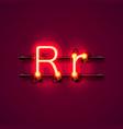 neon font letter r art design singboard vector image