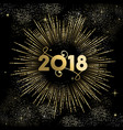 new year 2018 gold firework night sky card vector image vector image