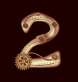 numeral 2 of mechanic alphabet steampunk style vector image vector image