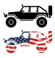 off road 4x4 vehicle with usa flag and black vector image vector image