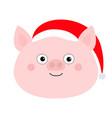 pig piglet face in santa red hat cute cartoon vector image