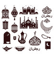 ramadan kareem festival symbols in black colors vector image
