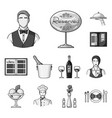 restaurant and bar monochrome icons in set vector image