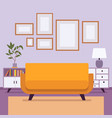retro interior with small frames for copyspace vector image vector image