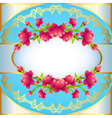 Round frame background with flowering vector image