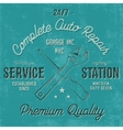 Service station vintage label tee design graphics vector image vector image
