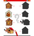 shadow task with funny dogs in doghouses vector image vector image