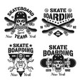 skateboarding set of four isolated emblems vector image