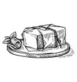 sketch hand drawn piece butter wrapped in a vector image
