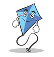 smile blue kite character cartoon vector image vector image