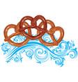 tasty cartoon pretzel vector image vector image