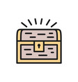 treasure chest flat color line icon vector image