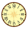 vintage clock face with compass vector image vector image