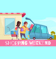 weekend shopping family background vector image