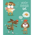 winter dog vector image vector image