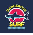 Shark - Dangerous surf - logo badge vector image