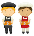 Two bakers with fresh baked bread vector image