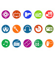 multimedia round button icons set vector image