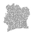 abstract schematic map of ivory coast from the vector image vector image