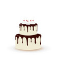 big birthday cake with cherries vector image vector image