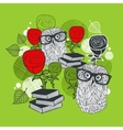 Bright print with polar owls and red roses vector image vector image